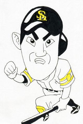 内川聖一選手似顔絵画像