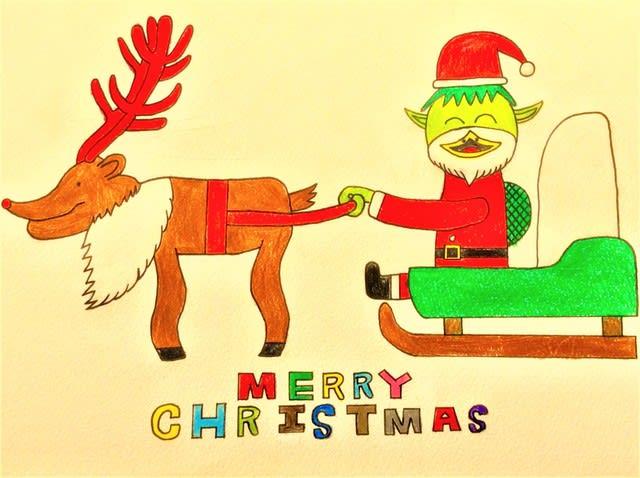 冬休みだぁクリスマスイラスト楽笑オリジナル妖怪日記338回目投稿