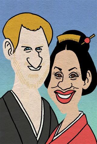 ハリー王子とメーガンさんの似顔絵