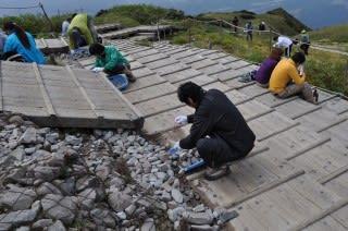 頂上碑周辺の石集め1。石が置いてあるので間違えて置く人が増えてます。