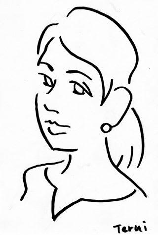 シンプルな線の似顔絵イラストレーション画像