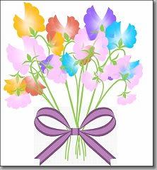 花束と紫のリボン