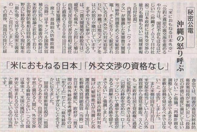 米におもねる日本」「外交交渉の資格無し」/秘密公電 沖縄の怒りよぶ ...