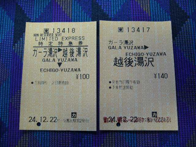 ガーラ湯沢から越後湯沢への乗車券・特急券
