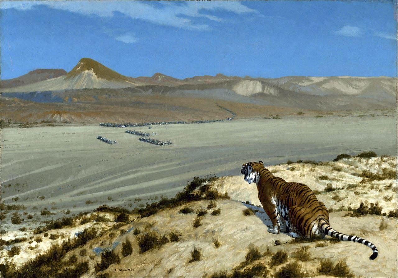 Tiger on the Watch 見張っている虎【わたしの里の美術館・作品】ジェローム
