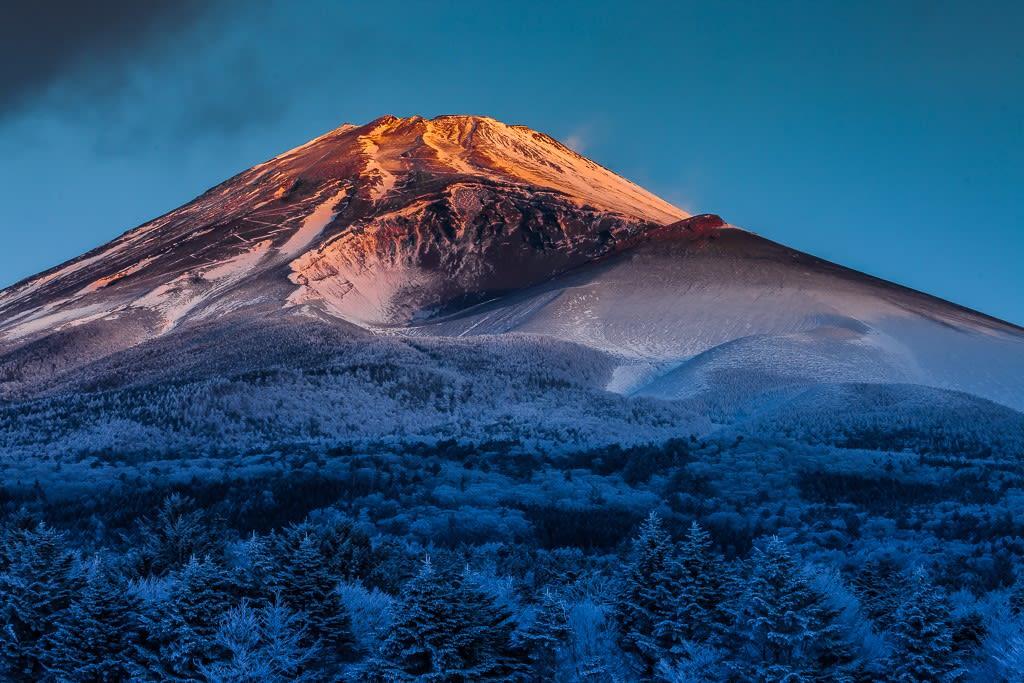霧氷と富士の夜明け写真