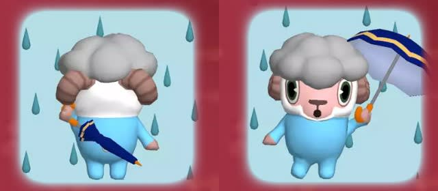 天気情報「雨」のひつじのしつじくん