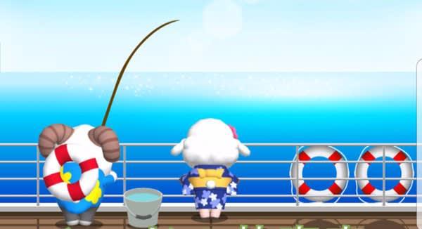 海釣りに挑むひつじのしつじくん