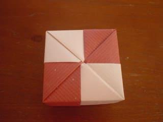 折り方③(ふた-市松タイプ-) - ペーパークラフトで遊山箱