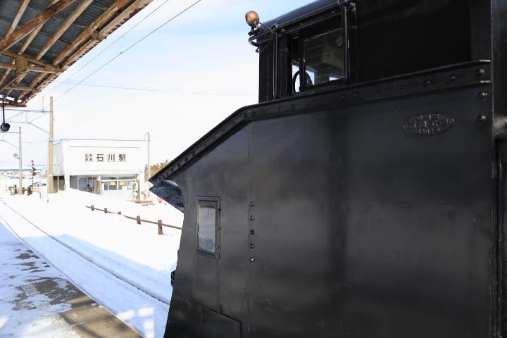 弘南鉄道石川駅でラッセルに遭遇