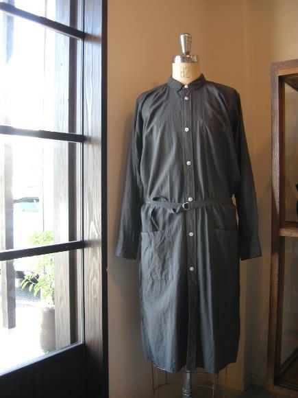 6dbde70bf781c ゴーシュ shirt one piece cotton 100% gray   blue green size 肩幅43 身幅61 着丈106  袖丈59cm  33600