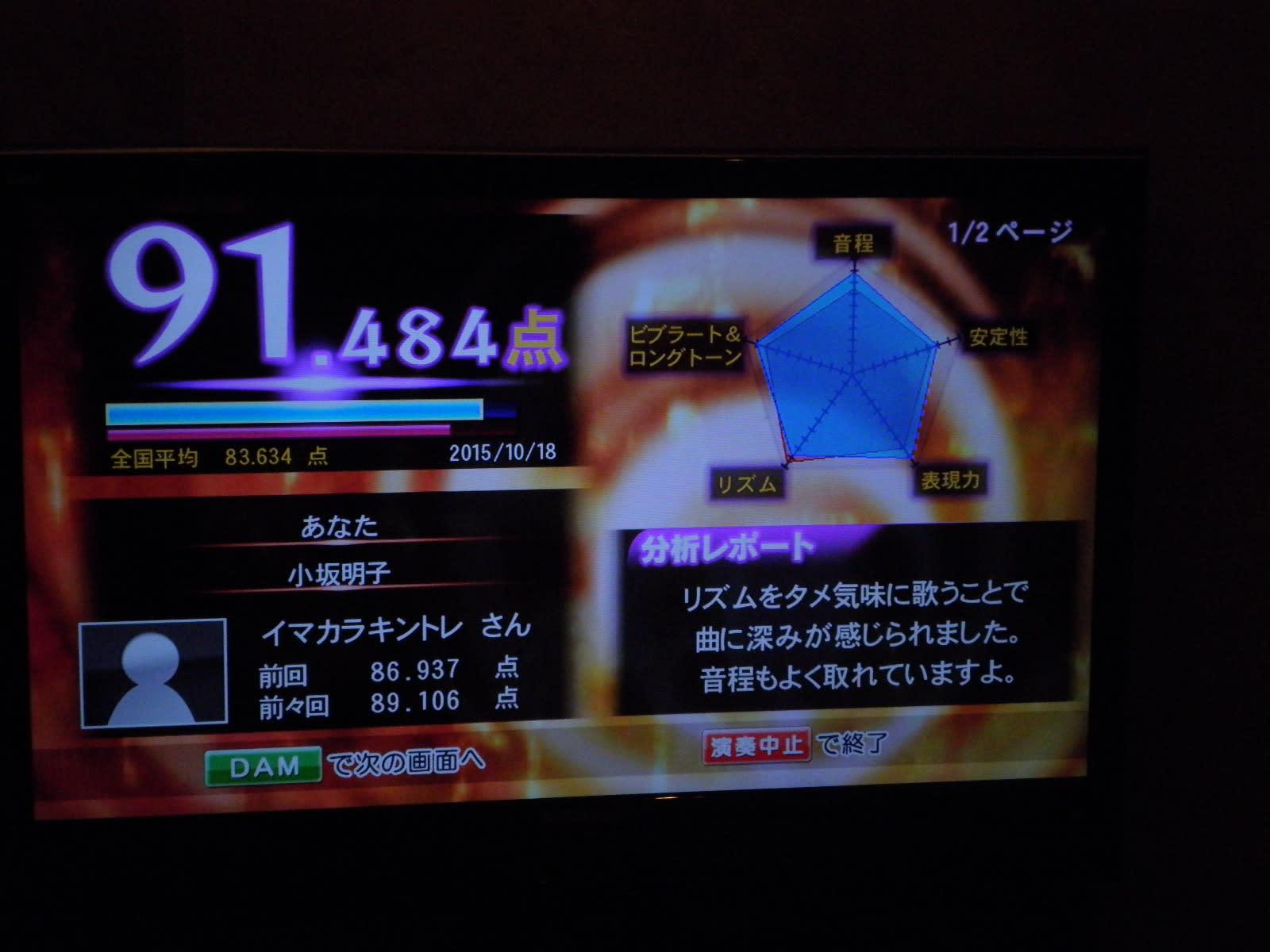 カラオケ 90点 dam