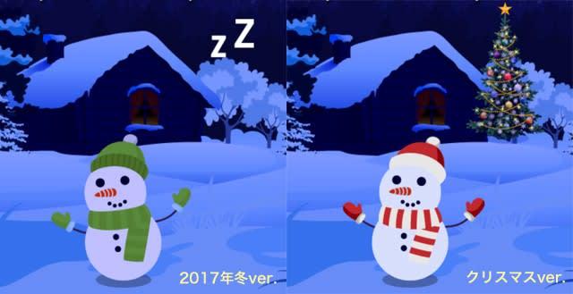 雪だるまの比較。左が2017年冬ver.、右がクリスマスver.