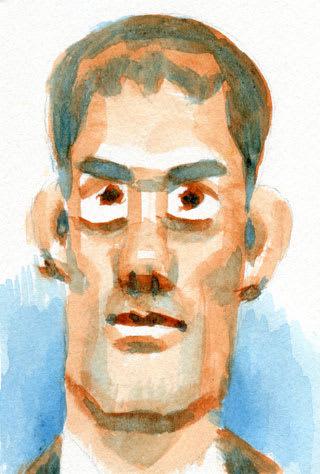 阿部寛さんの水彩似顔絵イラスト画像
