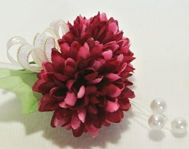 卒業 卒園式 コサージュ 生徒 園児用 ボールマム 造花 アメリカンビューティ色