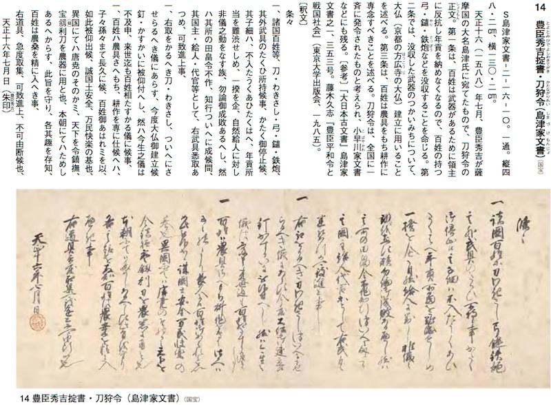 豊臣秀吉が、刀狩令を発布。 - 世界メディア・ニュースとモバイル・マネー