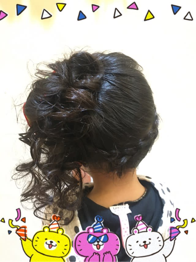 in style hair 七五三 ヘアセット 3歳 ロング サイドアップ leopard hair style 千葉みなとに 4496