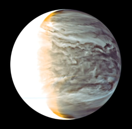 IR2による金星夜面の雲の模様(擬似カラー)。より多くの雲粒子が大気下層から来る赤外線を遮るため、雲が厚いところほど暗い。画像左側の白いところは昼面。