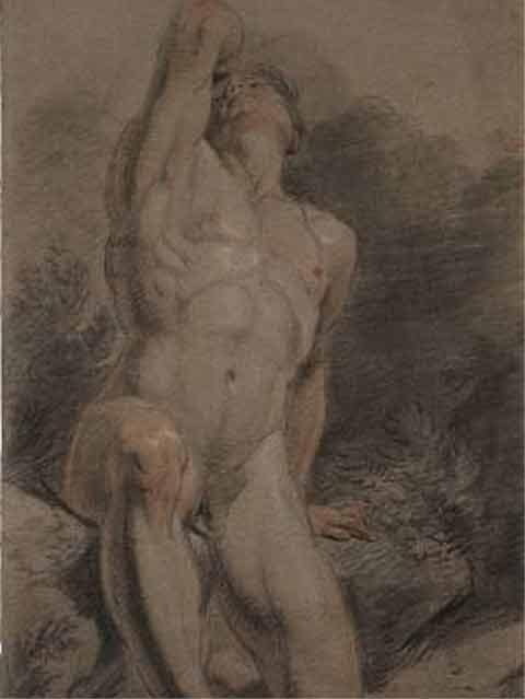 風景の中で頭と腕を上げ、跪く男性ヌード