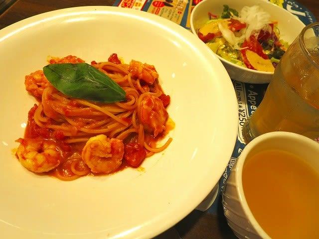 お昼のジョナ得セット(天然海老のの濃厚アメリカンソーススパゲッティ)