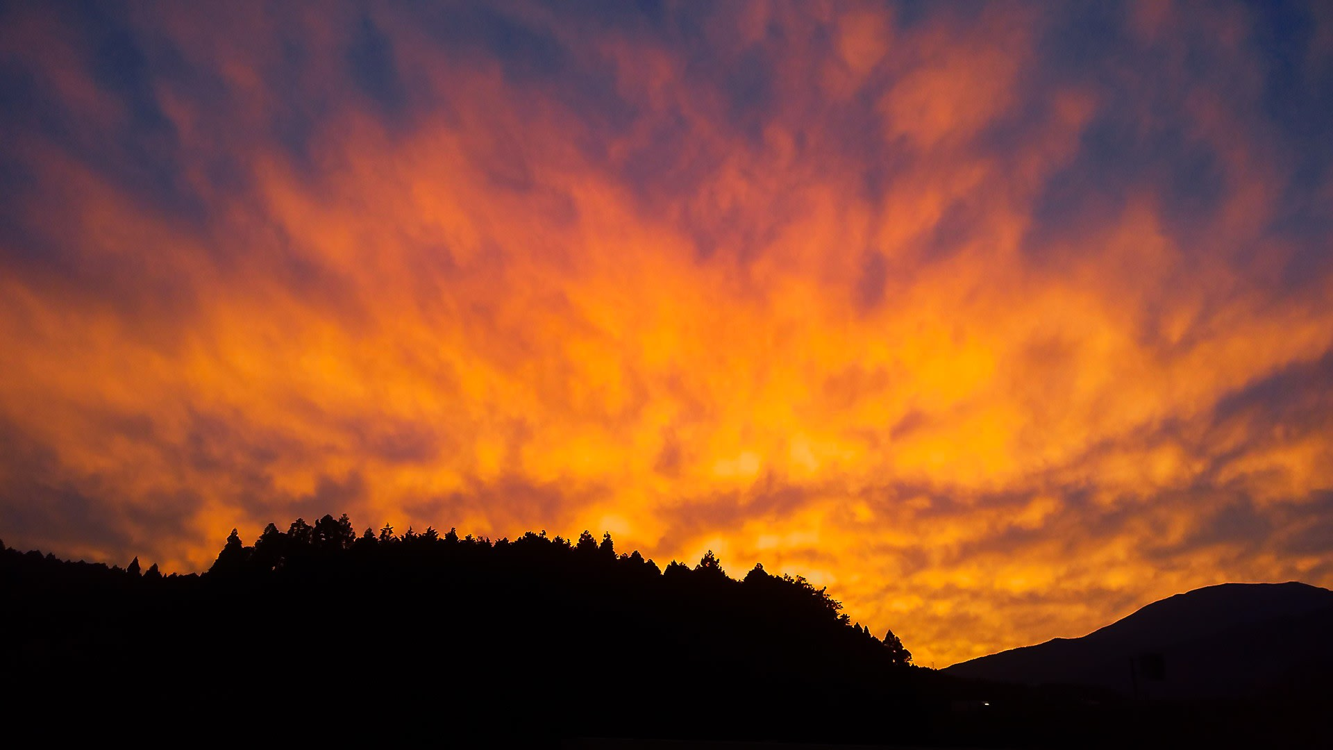 里の夕焼け空の写真