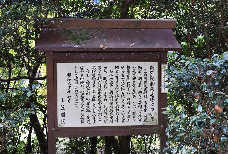 上笠間阿弥陀磨崖仏説明版