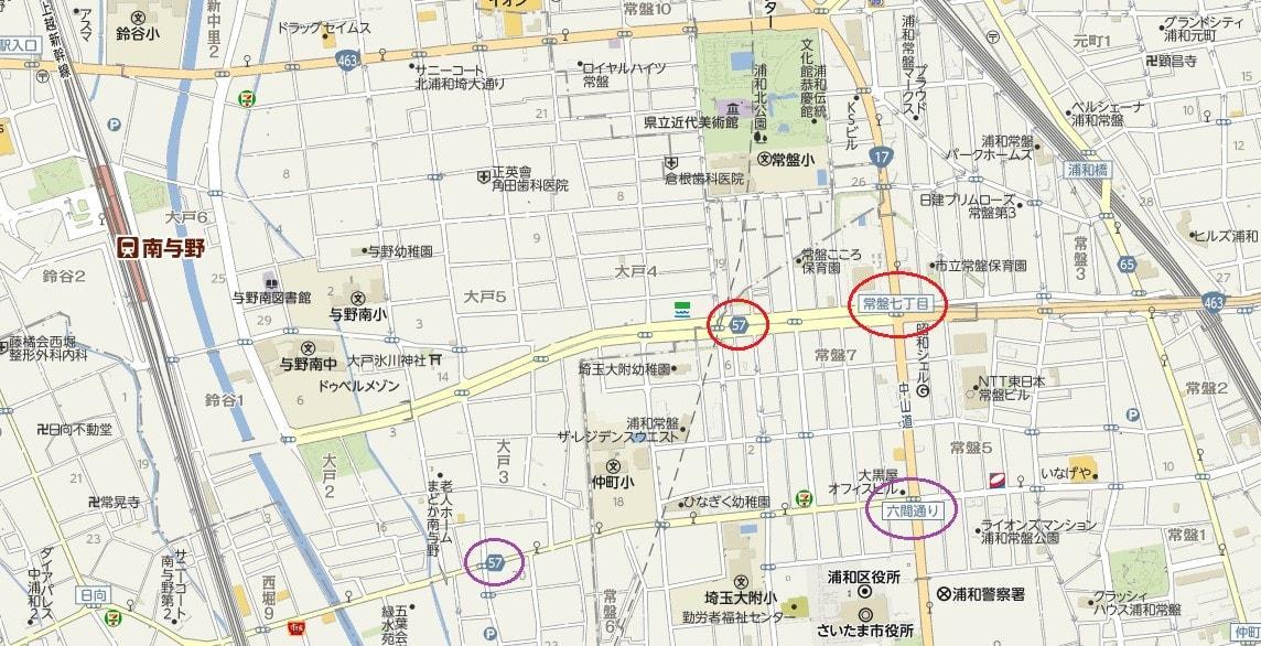 道場三室線と県道・国道のバイパス - 咲いた万歩
