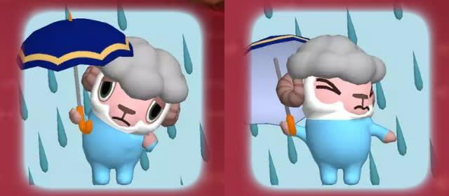 天気情報「大雨」のひつじのしつじくん