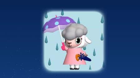 雨の中、傘を持つメイドのメイちゃん