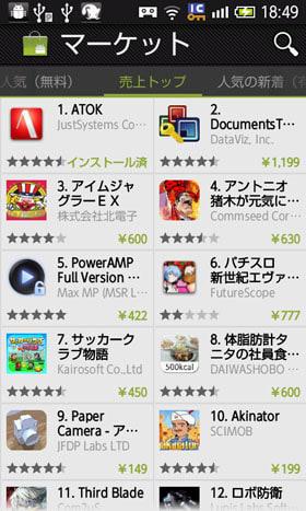 Androidマーケット売り上げランキング