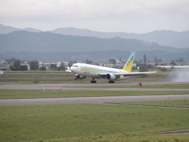 羽田から来た「北の翼」エアドゥのB767-300(JA98AD)です。といいますか函館線用のマーキングですけど動物園に富良野美瑛目当ての乗客が増える夏場は旭川線に乗り入れてるわけですか?(笑