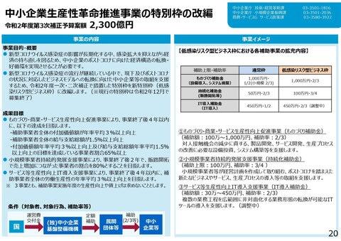 三 次 予算 第 補正 【追加支援】第三次補正予算 補助金について(2/28締切)