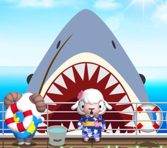大きな口を開けたサメが釣れそういに