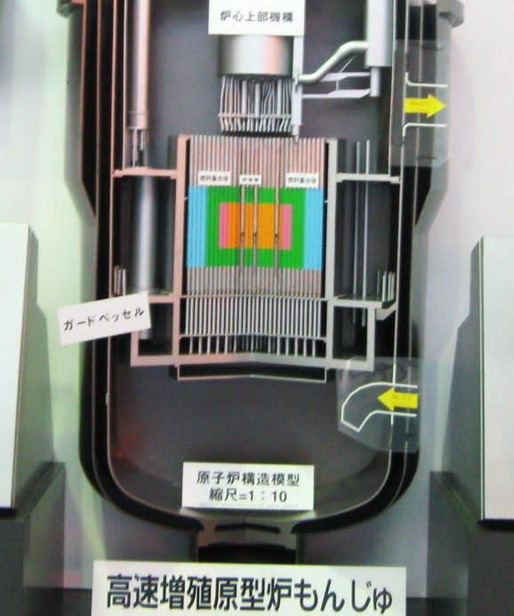 2012 09 13 今現在、常陽のブランケットには、239Pu 同位体純度99.36 %のプルトニウムが22 kg、もんじゅのブランケットには、97.5 %のプルトニウムが62 kg含まれている。これを再処理して取り出せば、原子爆弾30発分のプルトニウムが得られる。