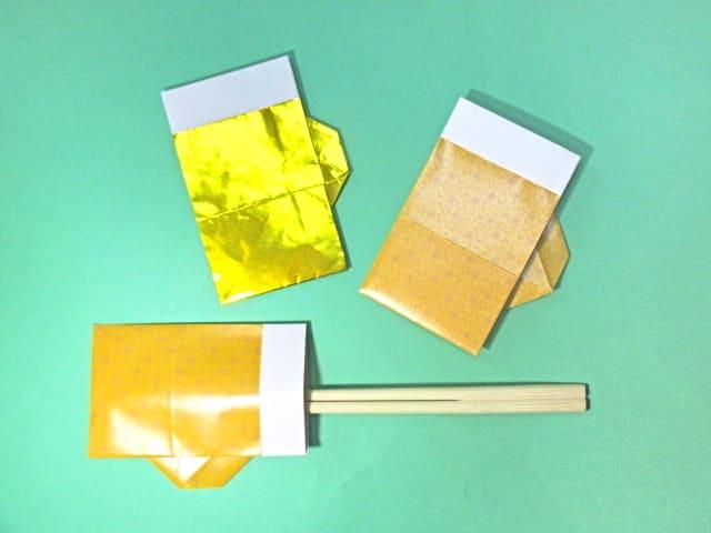 七夕 七夕 おりがみ : 折り紙ビールの箸袋の折り方 ...