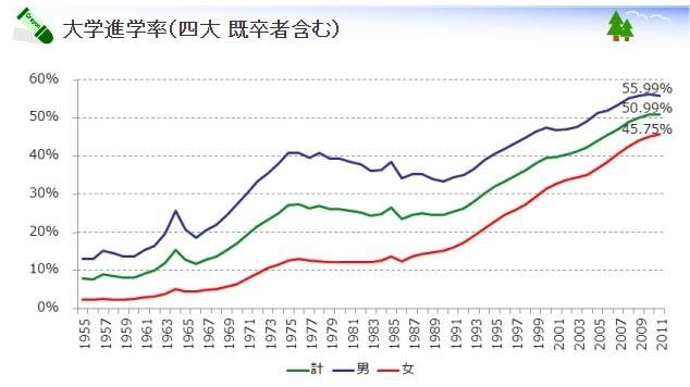 進学 率 日本 大学