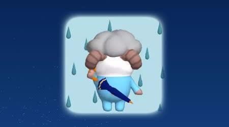 傘を背にする、ひつじのしつじくん