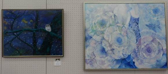 絵画教室講師作品と生徒作品