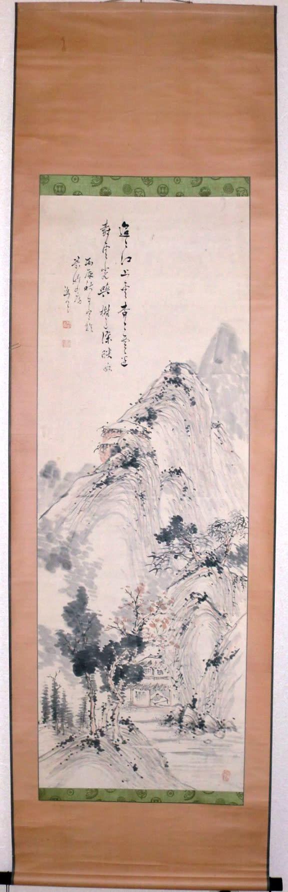 浅絳秋景山水図 木下逸雲筆 - 夜噺骨董談義
