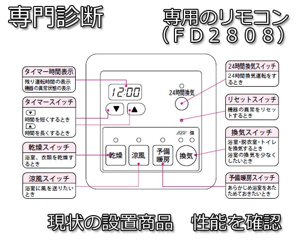 浴室暖房乾燥機FD2808リモコン説明