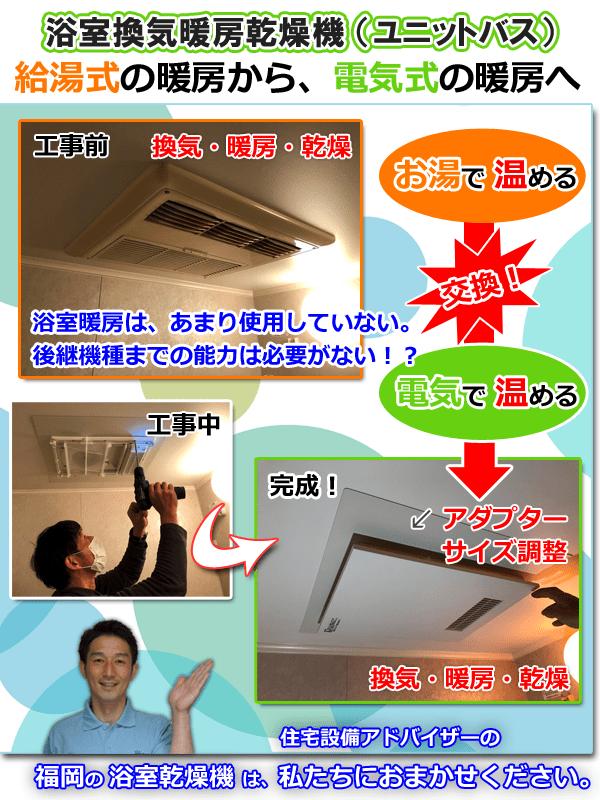 浴室換気暖房乾燥機、給湯式の暖房から、電気式の暖房へ