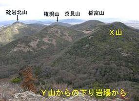 ここからは 急な下りです。 雑木林を抜けると 前方が ぱっと開ける急斜面の岩場に出ます。 ここから 東の見晴らしがよく 御津山脈の東の山が 全部  見えます。