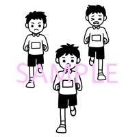 マラソン1学校白黒イラスト素材 素材屋イラストブログ