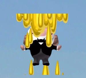 上から金色の液体が降ってきた