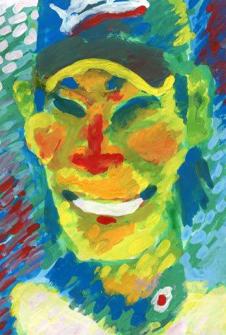 糸井嘉男選手の似顔絵イラスト画像