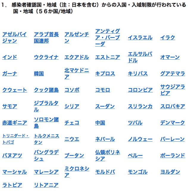 日本 から の 入国 入 域 制限 を し て いる 国