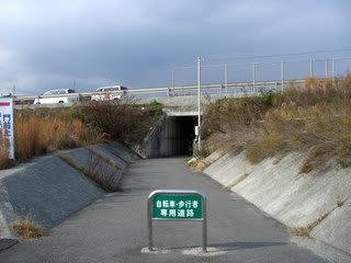 南岩国バイパスの下を走る自転車・歩行者専用道路