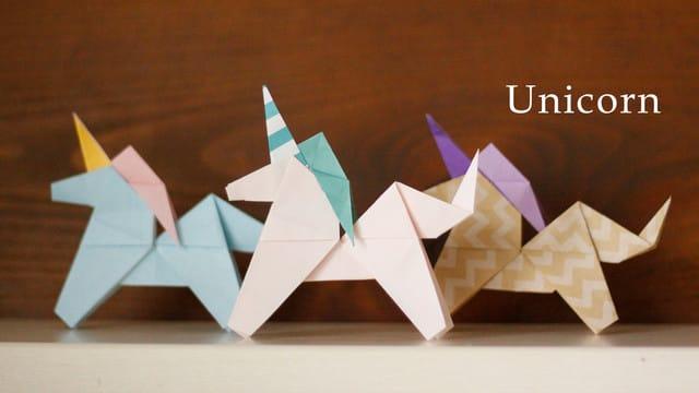 ユニコーンの折り方★☆折り紙2枚で完成!How to make an origami ...
