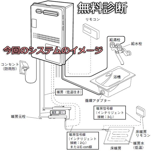 ノーリツ製GTH-2413AWXH配管システムのイメージ