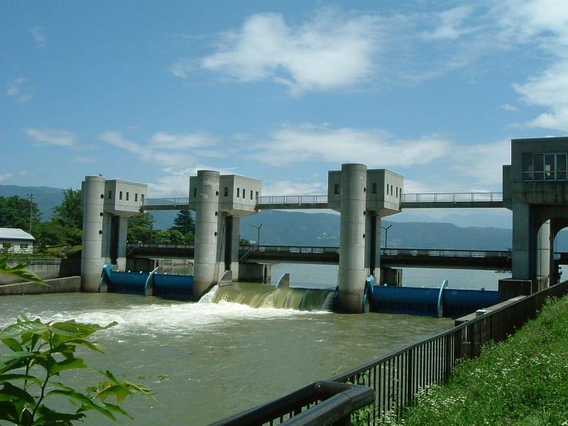 釜口水門 - 信州諏訪湖畔よりの...